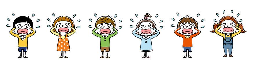 子供たち:悲しい、涙、泣く