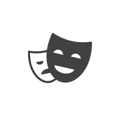 Theater masks icon vector, filled flat sign, solid pictogram isolated on white. Symbol, logo illustration. Pixel perfect