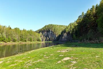 Ural Summer landscape. The Chusovaya river in summer Sunny day. Russia. Ural