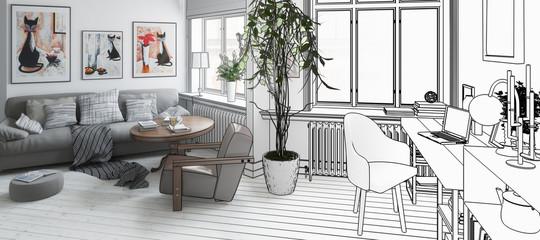 Wohnzimmer mit Einrichtung (Konzept, panoramisch)