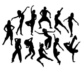Sporty Teenage Break Dancer In Action Silhouettes, art vector design