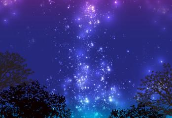森の向こう 天の川 星空