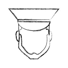 bellboy man face with a hat icon over white background vector illustration