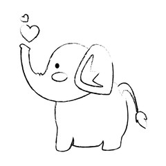 elephant affectionate cartoon icon vector illustration graphic design