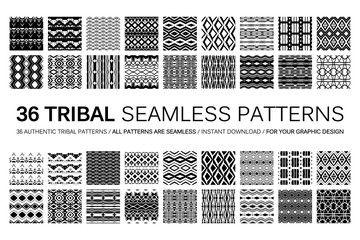 Set of 36 tribal seamless patterns.
