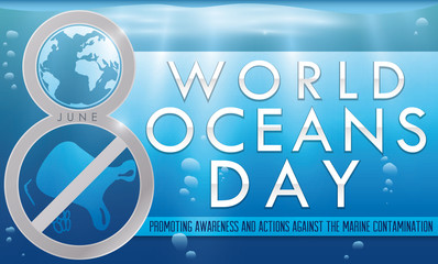 Number Eight Commemorating the Fight against Contamination for Ocean Day, Vector Illustration