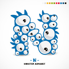Monster alphabet. Letter N.