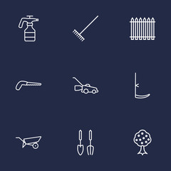 Set Of 9 Farm Outline Icons Set.Collection Of Instruments, Arm-Cutter, Atomizer And Other Elements.