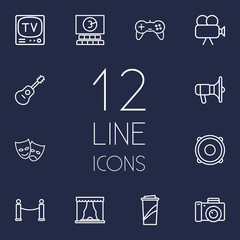 Set Of 12 Entertainment Outline Icons Set.Collection Of Movie Cam, Bullhorn, Masks And Other Elements.