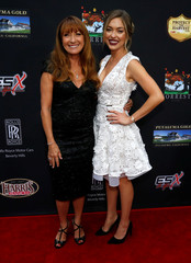 """Cast members Seymour and Stephenson pose at a premiere for the movie """"Pray for Rain"""" in Los Angeles"""