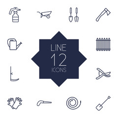 Set Of 12 Household Outline Icons Set.Collection Of Palisade, Safer Of Hand , Spade Elements.