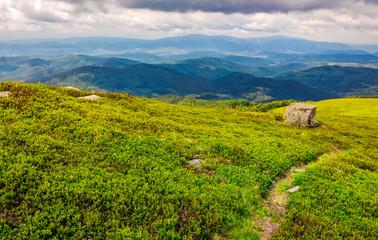footpath down the hill through mountain ridge