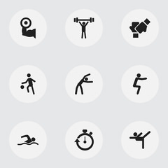 Set Of 9 Editable Training Icons. Includes Symbols Such As Training Pool, Exercise, Sportsman And More. Can Be Used For Web, Mobile, UI And Infographic Design.