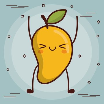 kawaii mango icon over blue background colorful design vector illustration