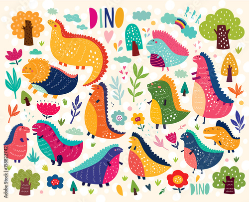 Vector colorful illustration with cute dinosaurs