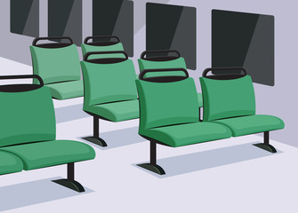 Empty bus interior. View inside the means of transport. Cartoon vector illustration.