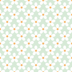 Cute floral pattern with buds chamomile flowers. Seamless background. Vector illustration for print on fabric, textiles, wallpaper. Vintage retro style. Miles Fleur, ditsy ornament.