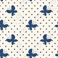Cute beautiful pattern with butterflies. Seamless background. Vector illustration for printing on fabric, textiles, Wallpaper, scrap-booking.