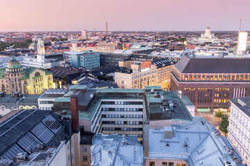 Dusk Over Helsinki Rooftops. Aerial View of Central Helsinki looking north-east from an elevated point in Kamppi.