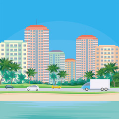The image of a coastal city. The road along the sea. Beautiful summer landscape. Vector background.