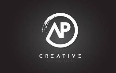 AP Circular Letter Logo with Circle Brush Design and Black Background.