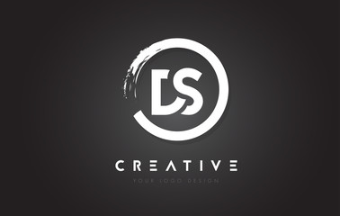 DS Circular Letter Logo with Circle Brush Design and Black Background.