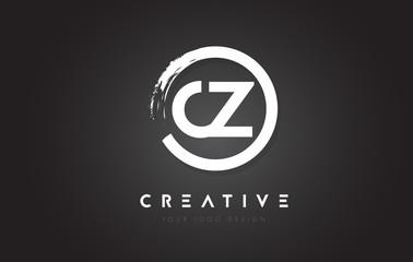 Fototapeta CZ Circular Letter Logo with Circle Brush Design and Black Background. obraz