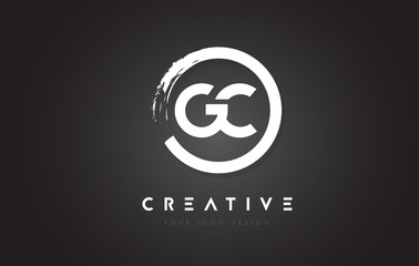 GC Circular Letter Logo with Circle Brush Design and Black Background.
