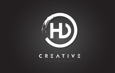 HD Circular Letter Logo with Circle Brush Design and Black Background.