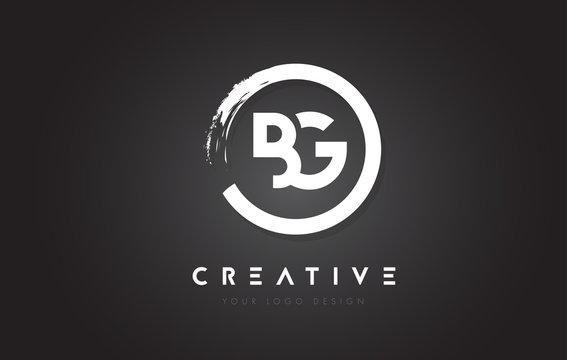 BG Circular Letter Logo with Circle Brush Design and Black Background.