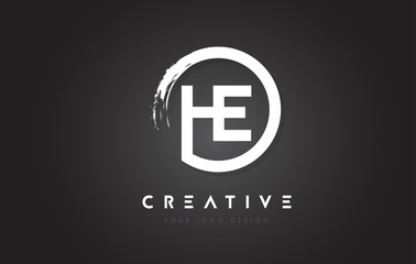 HE Circular Letter Logo with Circle Brush Design and Black Background.