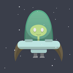 ufo spaceship cartoon illustration