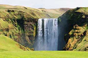 Skogafoss waterfall in Iceland in summer