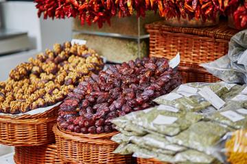 Dry dates on farmer market on Madeira island, Portugal
