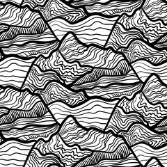 Seamless vectori pattern of swirls of waves, peaks of mountains. Black and white hand drawn ornament.