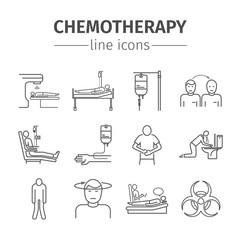 Chemotherapy line icons set