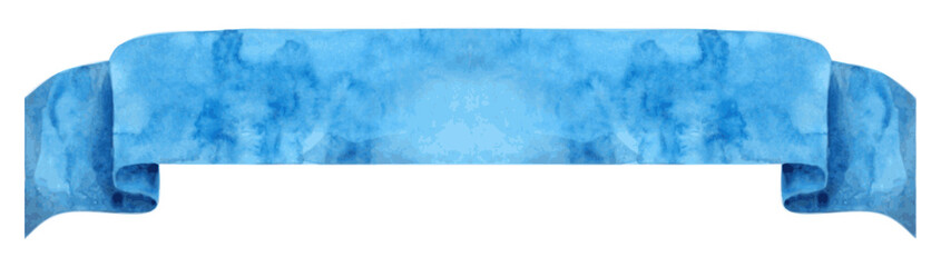 Watercolor blue ribbon