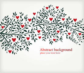 Elegant vector ornament with leaves and red hearts