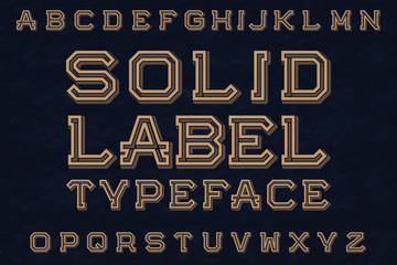 Solid Label Typeface font. Isolated english alphabet.