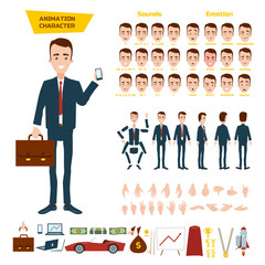 Big set for the animation of a businessman character on a white background. Animation of sounds, emotions, gestures of hands. View straight, side, back, 3/4.