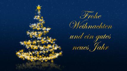 Christmas tree with glittering stars on blue background, german seasons greetings