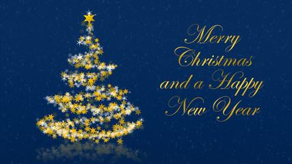 Christmas tree with glittering stars on blue background, english seasons greetings