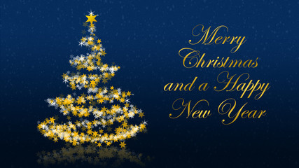 Christmas tree with glittering stars on blue background, french seasons greetings