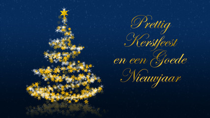 Christmas tree with glittering stars on blue background, dutch seasons greetings