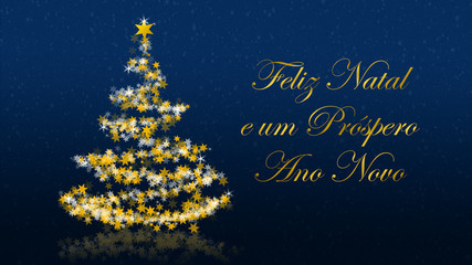 Christmas tree with glittering stars on blue background, portuguese seasons greetings