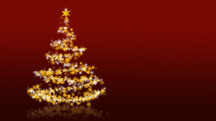 Christmas tree with glittering stars on red background