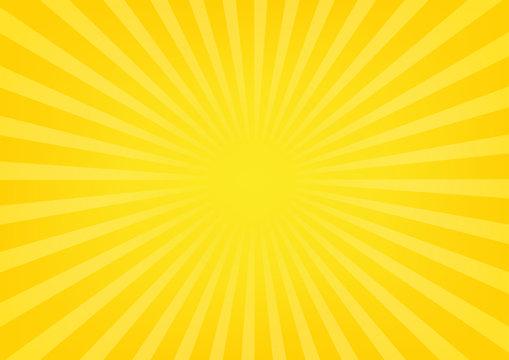 Sun rays, sunburst on yellow and orange color background. Vector illustration summer background design.