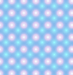 Blue pattern with pink and blue glowing circles. Vector seamless pattern