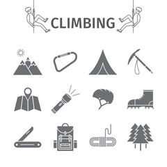 Rock-climbing equipment. Vector illustration