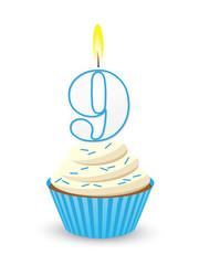 Blue Birthday Cupcake for 9th Birthday